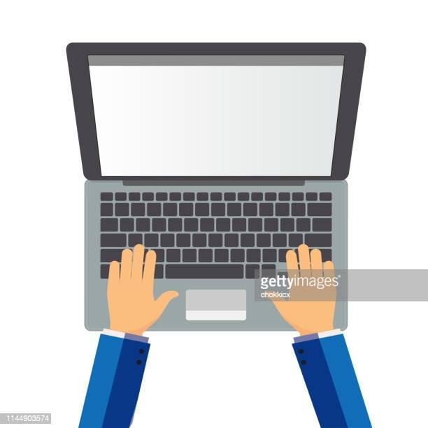arbeiten an laptop - laptop benutzen stock-grafiken, -clipart, -cartoons und -symbole