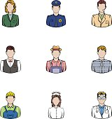 Working people icons set, cartoon style