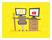 Working place cartoon vector illustration