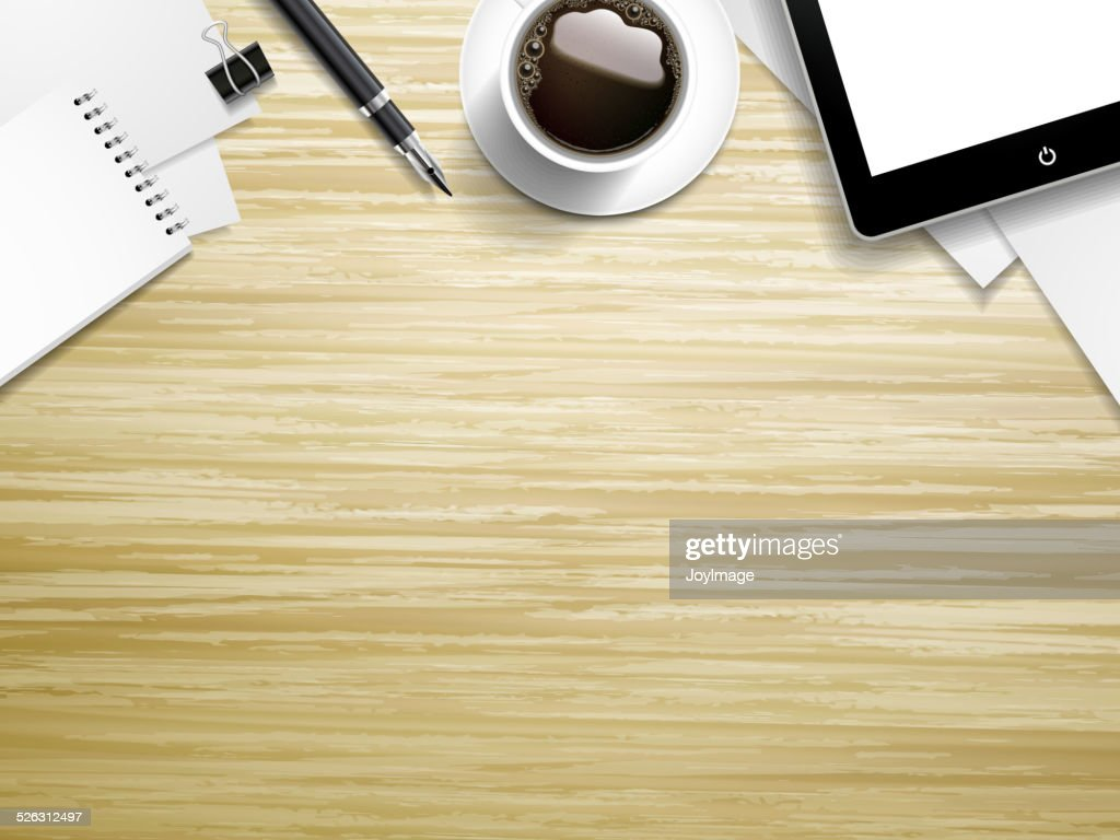 working place elements on wooden background
