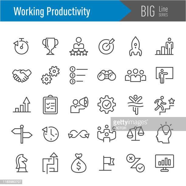 stockillustraties, clipart, cartoons en iconen met productiviteits pictogrammen voor werken-big line-serie - hiërarchie