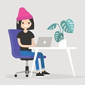 Working space. Young female character typing on a laptop / flat editable vector illustration, clip art