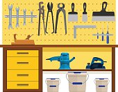 Working table with spanner planer scissors palette knife pincers