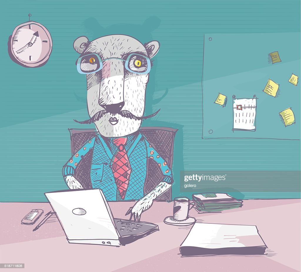 Working Tiger With Glasses In The Homeoffice stock illustration
