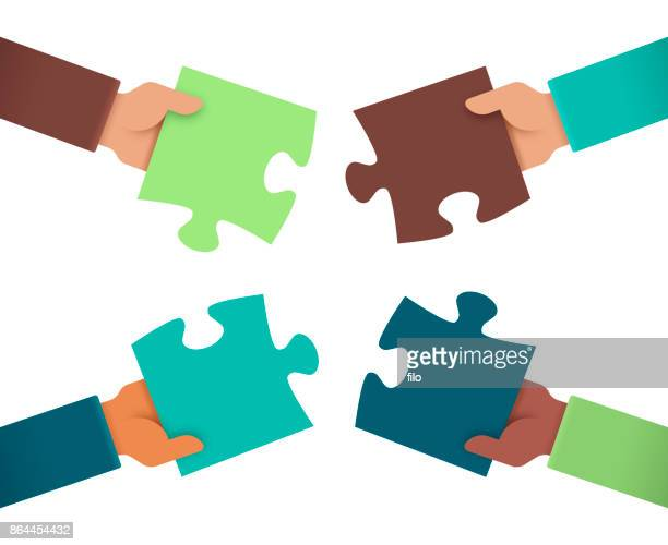 working together puzzle hands - togetherness stock illustrations