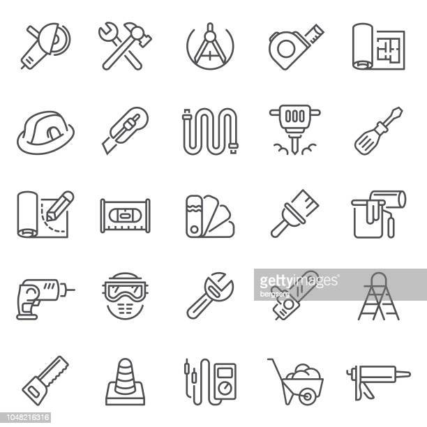 working tools icons. home repair concept - occupational safety and health stock illustrations, clip art, cartoons, & icons