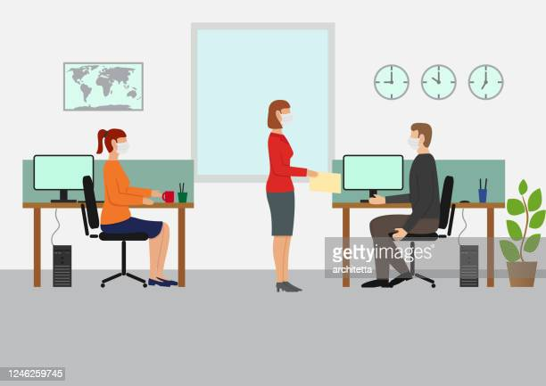 working with mask at the office - woman wearing protective face mask stock illustrations