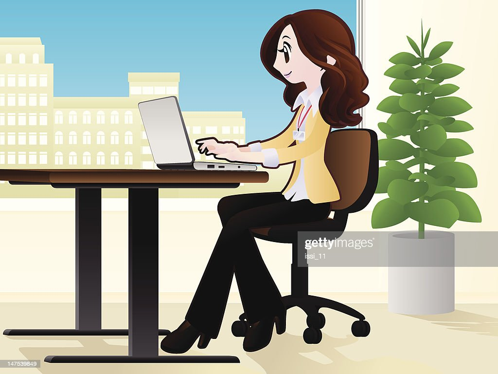 Working woman with a laptop in the office