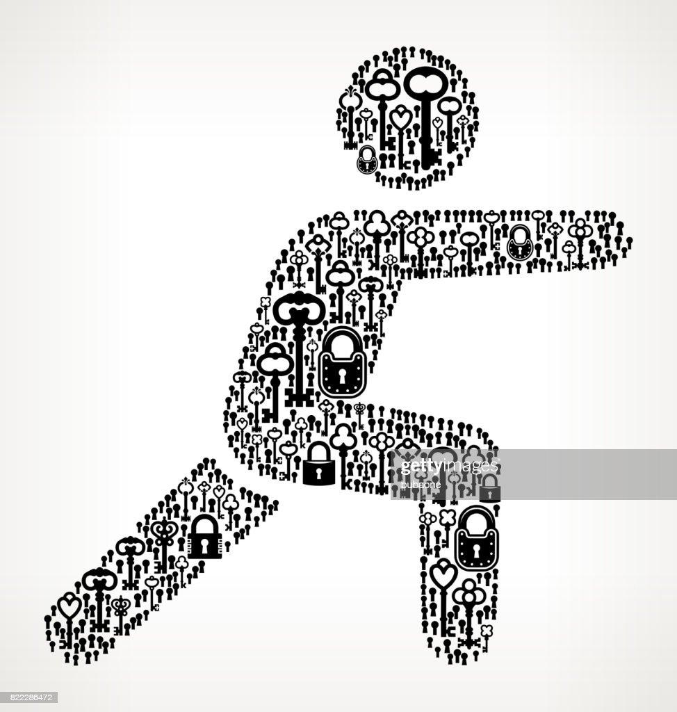 Workout  Antique Keys Black and White Vector Pattern : stock illustration