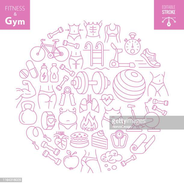workout fitness and gym concept - obesity icon stock illustrations