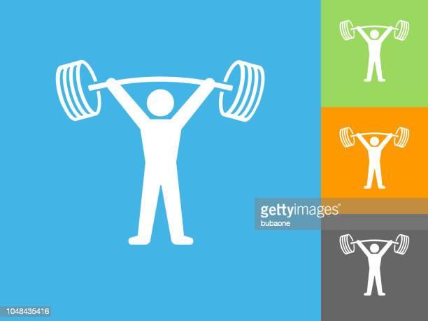 ilustraciones, imágenes clip art, dibujos animados e iconos de stock de icono plano entrenamiento sobre fondo azul - entrenamiento con pesas
