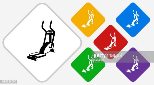 workout machine color diamond vector icon - cardiovascular exercise stock illustrations, clip art, cartoons, & icons