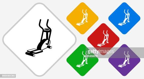 Workout Machine Color Diamond Vector Icon