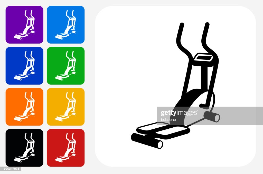 Workout Machine Icon Square Button Set : stock illustration