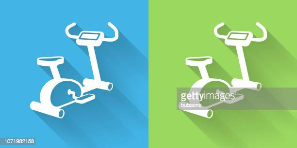 workout machine icon with long shadow - peloton stock illustrations