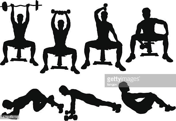 workout silhouette - sports hall stock illustrations