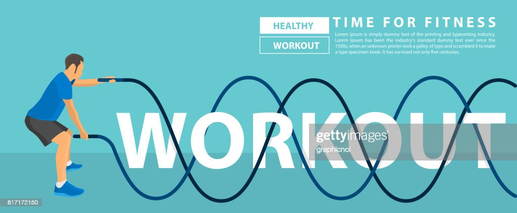 Workout text design with fitness man battle rope exercise