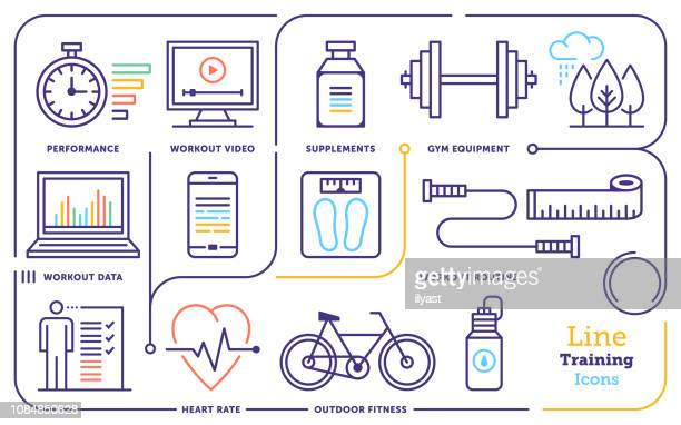 workout training activity line icon set - routine stock illustrations