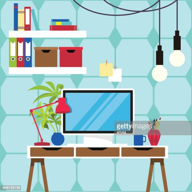 workplace and equipments flat design. - furniture stock illustrations, clip art, cartoons, & icons
