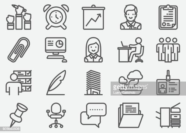 workplace and office line icons - filing cabinet stock illustrations, clip art, cartoons, & icons