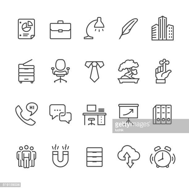 workplace and office vector icons - filing cabinet stock illustrations, clip art, cartoons, & icons