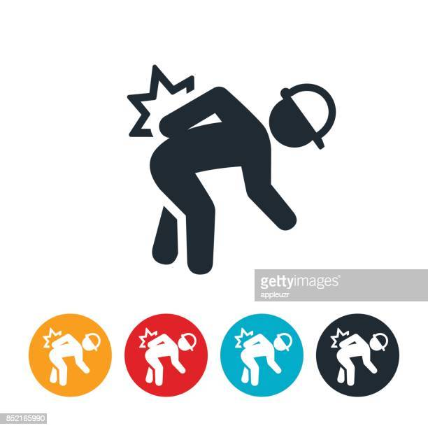 workplace back injury icon - bending over stock illustrations, clip art, cartoons, & icons