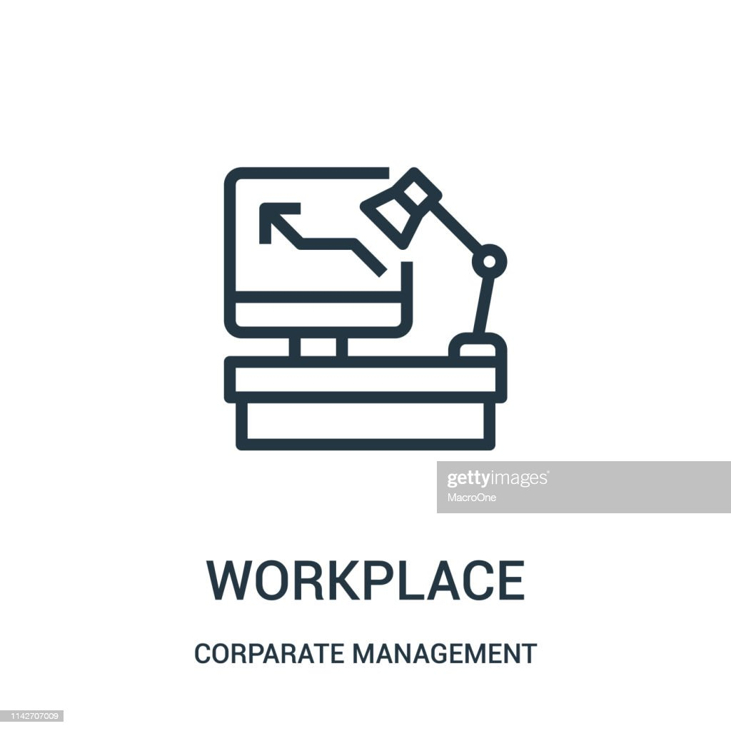 workplace icon vector from corparate management collection. Thin line workplace outline icon vector illustration. Linear symbol for use on web and mobile apps, logo, print media.