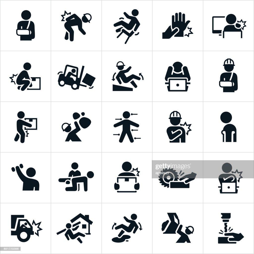 Workplace Injury Icons : stock illustration