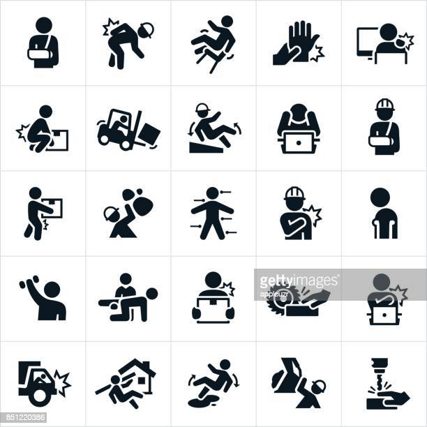 workplace injury icons - occupational safety and health stock illustrations, clip art, cartoons, & icons