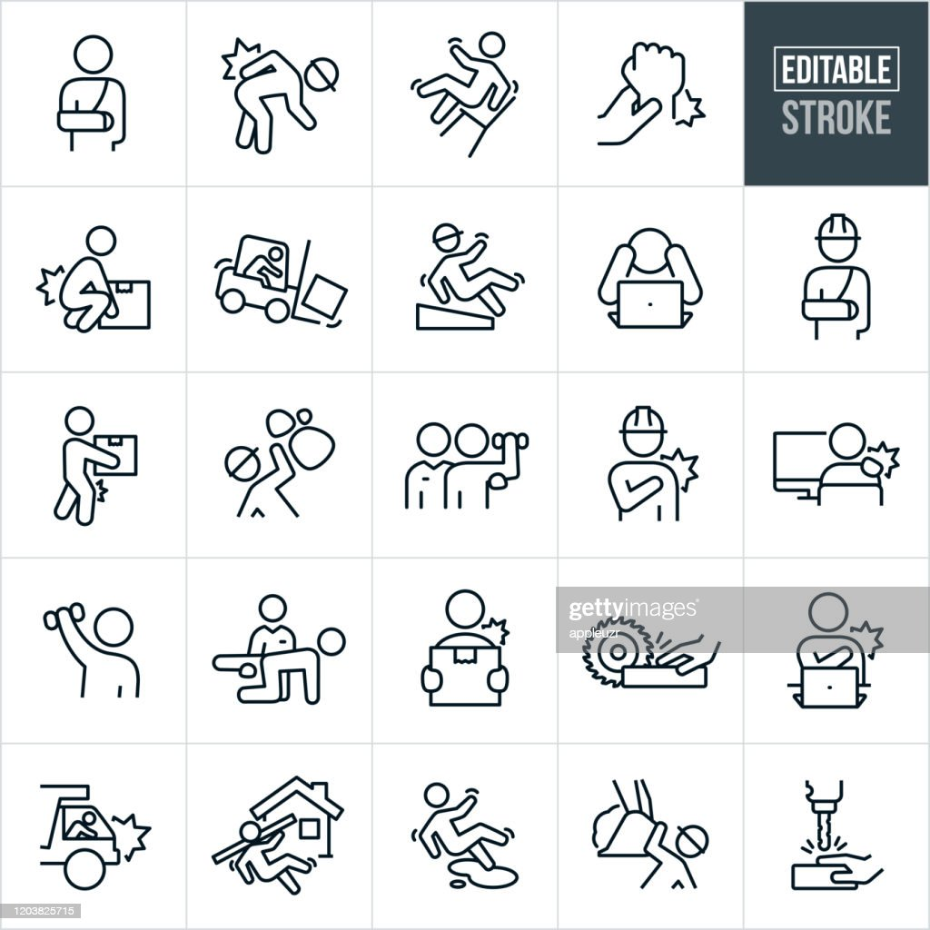 Workplace Injury Thin Line Icons - Editable Stroke : Stock Illustration