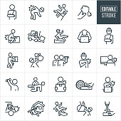 Workplace Injury Thin Line Icons - Editable Stroke