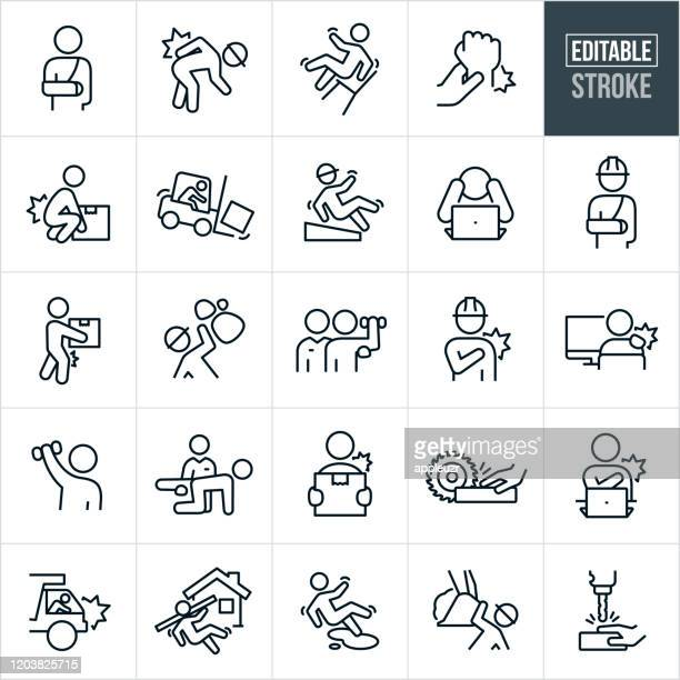 workplace injury thin line icons - editable stroke - picking up stock illustrations