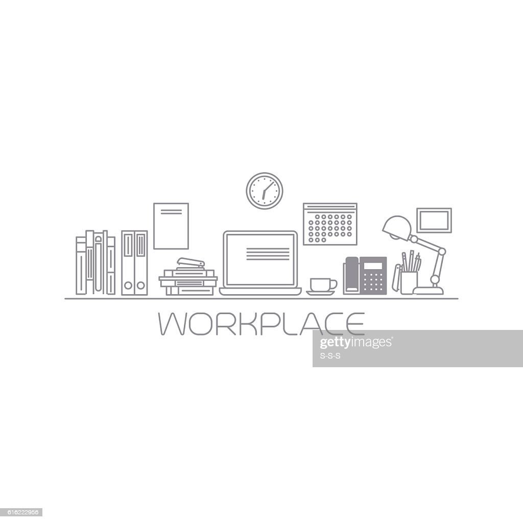 Workplace mono color line illustration : Vektorgrafik