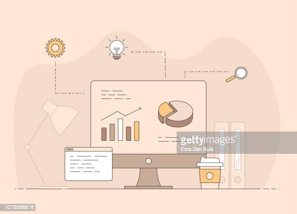 illustrazioni stock, clip art, cartoni animati e icone di tendenza di luogo di lavoro di un uomo d'affari con icone del processo di lavoro sullo sfondo. - rapporto finanziario