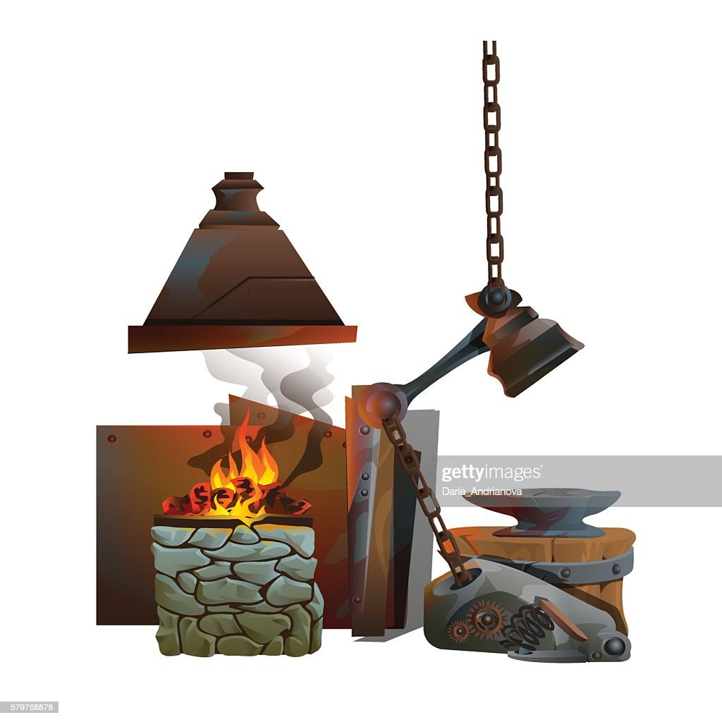 Workplace of blacksmith on white background