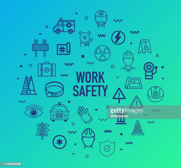 workplace safety & hazards outline style infographic design - occupational safety and health stock illustrations, clip art, cartoons, & icons