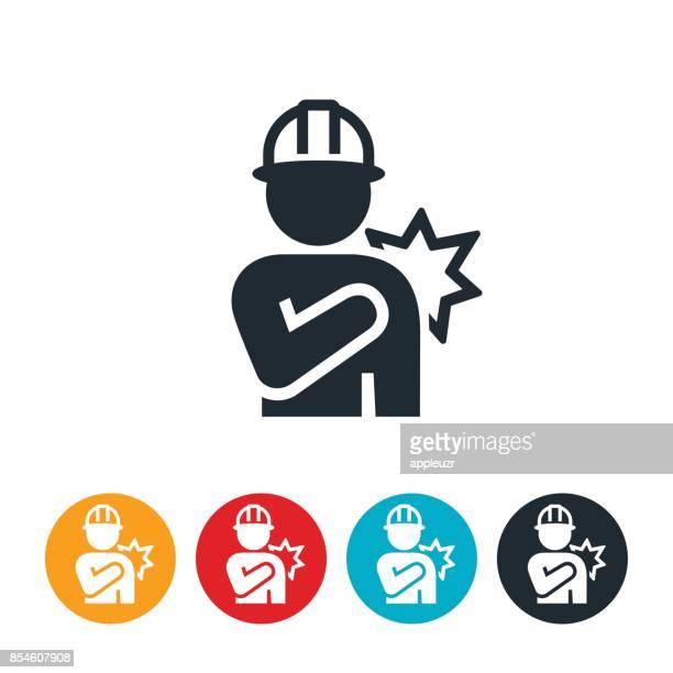 ilustrações, clipart, desenhos animados e ícones de ícone de lesão de ombro no local de trabalho - ombro