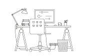 Workplace thin line illustration.