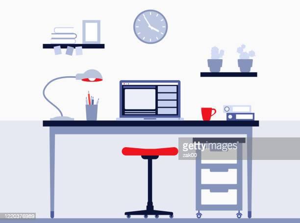 arbeitsplatz - schreibtisch stock-grafiken, -clipart, -cartoons und -symbole