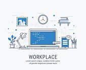 Workplace vector illustration for web