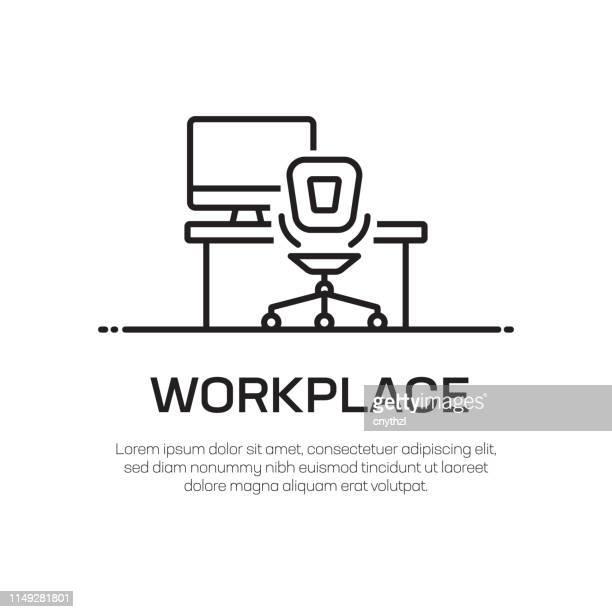 arbeitsplatz vector line icon-einfache dünnlinie icon, premium-qualitäts-design-element - schreibtisch stock-grafiken, -clipart, -cartoons und -symbole