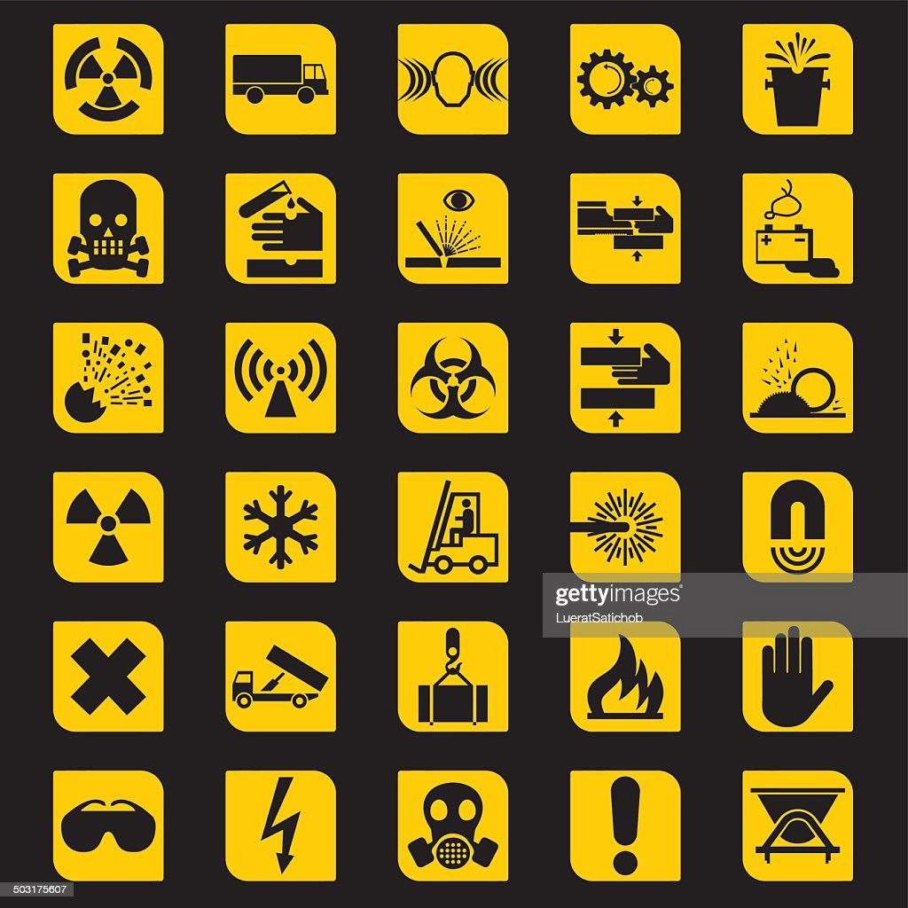 Workplace Warning Signs Silhouette icons | EPS10