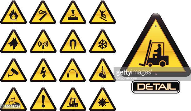 workplace warning signs - occupational safety and health stock illustrations, clip art, cartoons, & icons