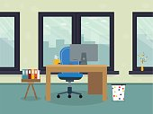 Workplace with big window with coffee with other things. illustration flat