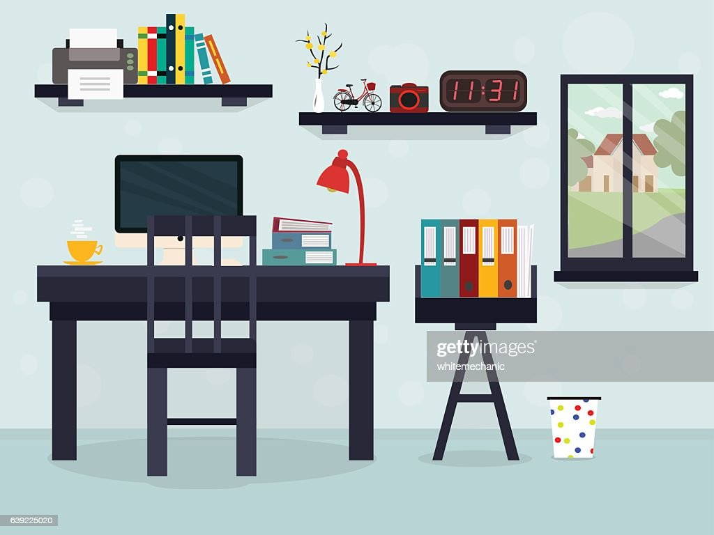 Workplace with coffee with window and other things illustration flat