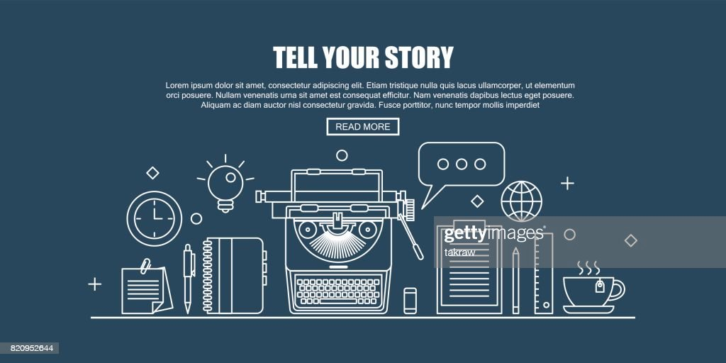 Workplace with typewriter and Blogger tools. Blogger concept header. Flat Thin line Designed Vector Illustration.