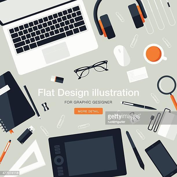 illustrations, cliparts, dessins animés et icônes de espace de travail pour graphiste - graphiste