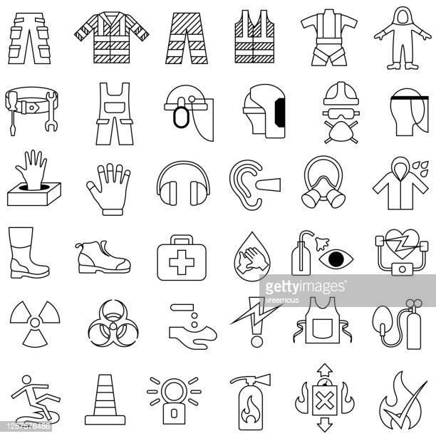 illustrazioni stock, clip art, cartoni animati e icone di tendenza di set di icone di struttura per l'abbigliamento da lavoro e la salute e la sicurezza - abbigliamento da lavoro