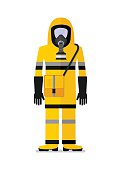 workwear man in gas mask