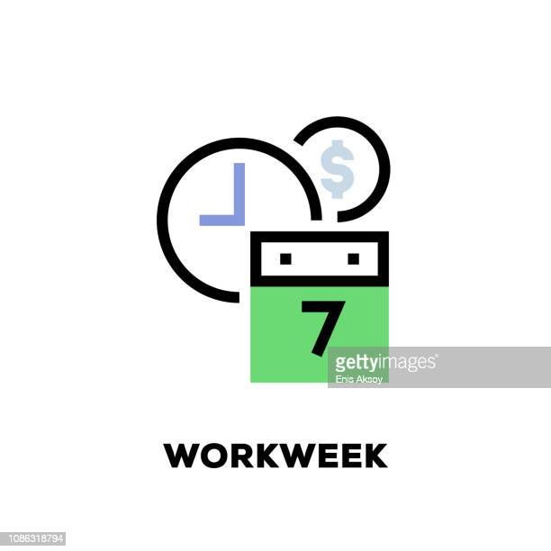 workweek line icon - retail employee stock illustrations